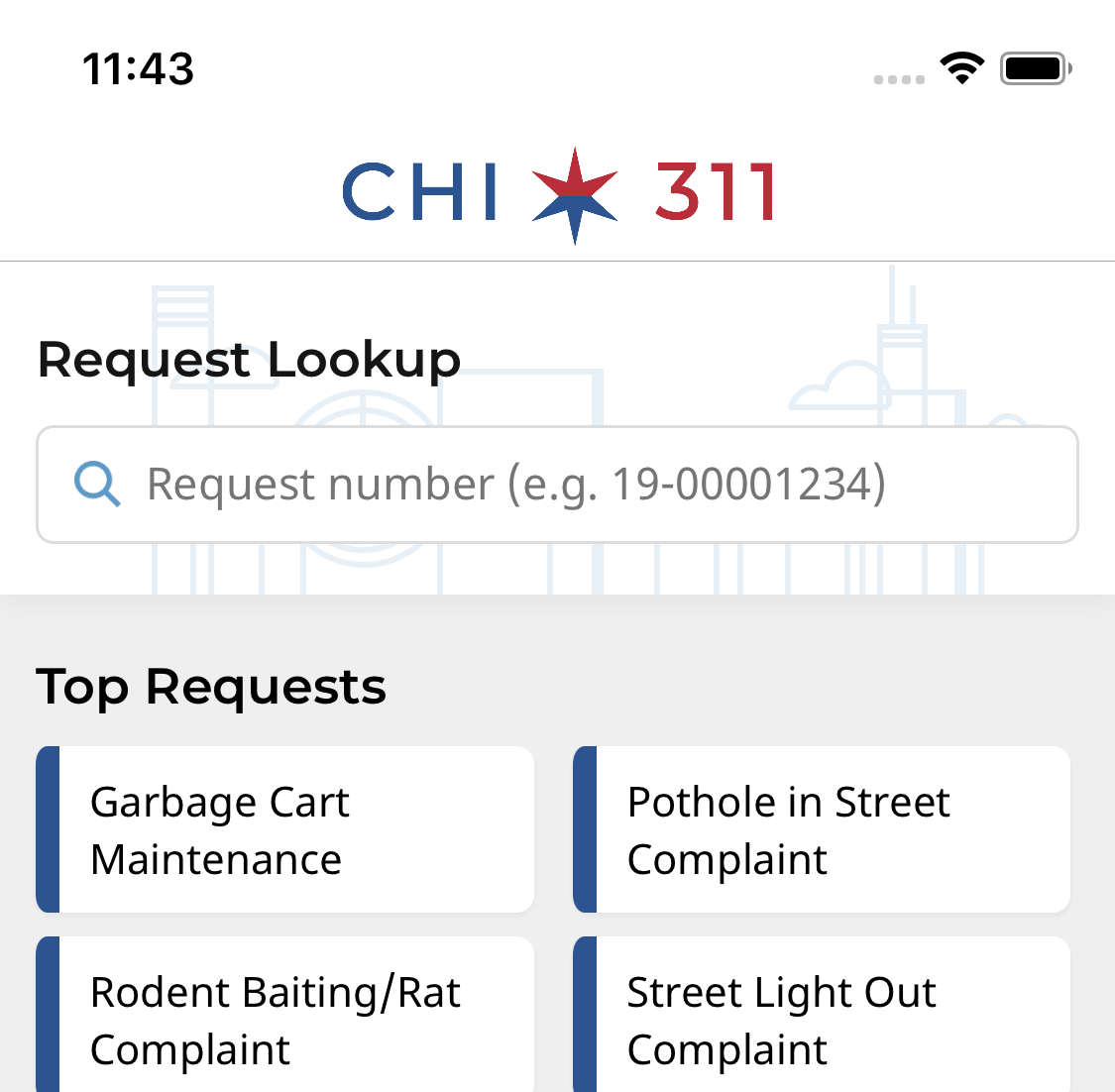 A picture of the CHI311 app